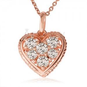 925 ezüst nyakék, átlátszó cirkóniás szív rovátkolt kerettel, réz szín