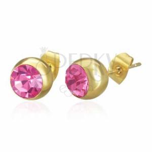 Acél fülbevaló arany színben, golyó rózsaszín cirkóniával, stekker