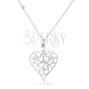 925 ezüst nyakék, kidomborodó szív filigrán díszítéssel, átlátszó cirkónia