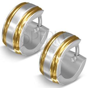 Fényes acél fülbevaló, ezüst szín, szélek arany árnyalatban, bemetszések