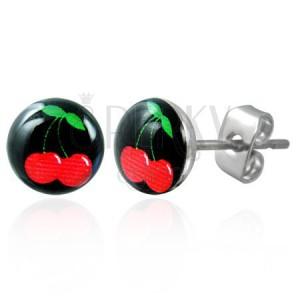 Beszúrós fülbevaló acélból, fénymázas fej, cseresznye a fekete alapon