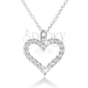 Állítható nyakék 925 ezüstből, cirkóniás szabályos szívkörvonal