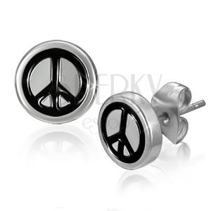 Beszúrós fülbevaló sebészeti acélból - béke szimbólum fekete színben