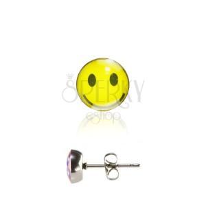 Acél beszúrós fülbevaló, fénymázas fejecske, sárga nevető smile
