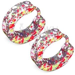 Fényes szögecskés fülbevaló acélból, neon sárga, rózsaszín és fehér színű foltok