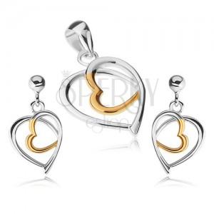 925 ezüst szett - medál és fülbevaló, szívkörvonal, arany és ezüst szín