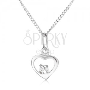 925 ezüst nyakék, fényes szívkörvonal, átlátszó kő