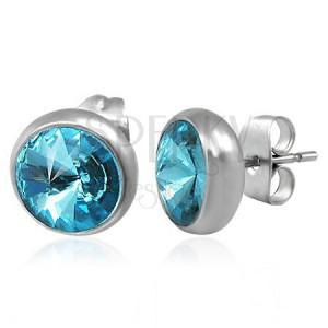 Acél fülbevaló ezüst színben, beszúrós, kék csiszolt cirkónia, 8 mm