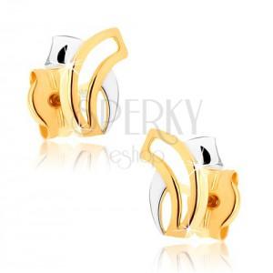 Kétszínű 375 arany fülbevaló - két összeérő ívelt vonal