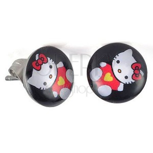 Bedugós fülbevaló acélból, fénymáz, Hello Kitty masni fekete háttéren