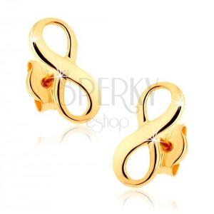 375 arany fülbevaló - fényes végtelen szimbólum
