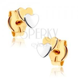 Beszúrós fülbevaló 9K aranyból - két kis szív, kétszínű