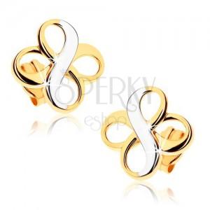"""Kétszínű fülbevaló 9K aranyból - két """"INFINITY"""" szimbólum, ródiumozott"""