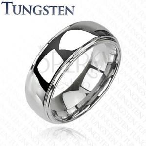 Tungsten gyűrű - fényes, kidomborodó középső résszel