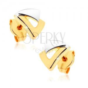 Beszúrós fülbevaló 9K aranyból - két háromszög kétszínű kivitelben