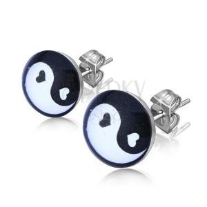 Beszúrós fülbevaló acélból, fekete fehér Jing és Jang szimbólum a karikában