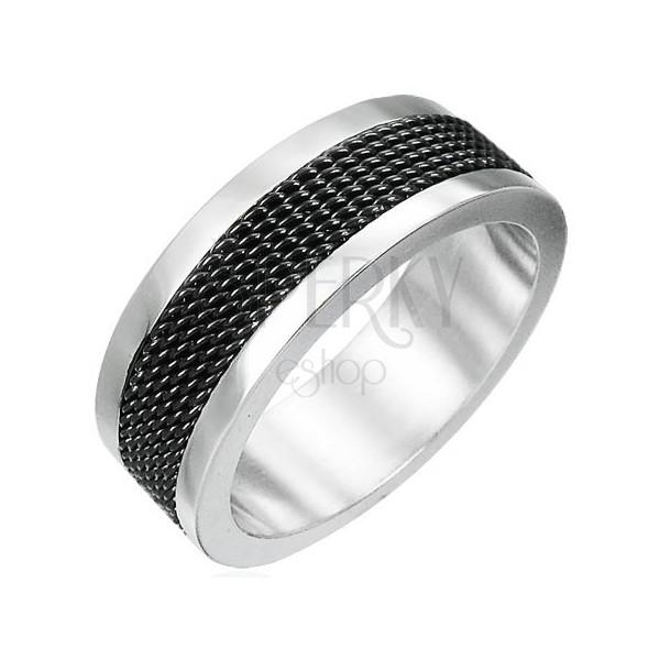 Nemesacél gyűrű - fekete rácsos rész