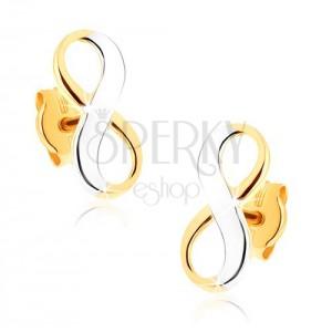 Kétszínű 375 arany fülbevaló - fényes végtelen szimbólum, ródiumozott