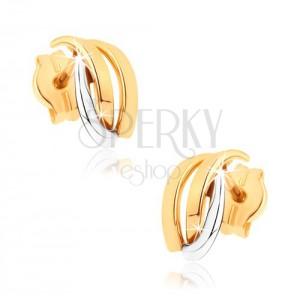 Csillogó fülbevaló 9K aranyból - kétszínű hajlított vonalak