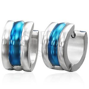 Szögecskés acél fülbevaló, ezüst és kék szín, három kidomborodó vonal