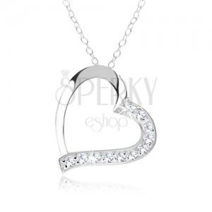 925 ezüst nyakék, szív kontúr, átlátszó cirkóniák az egyik felén