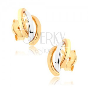 Fülbevaló 9K aranyból - három hajlított vonal kétszínű kivitelezésben