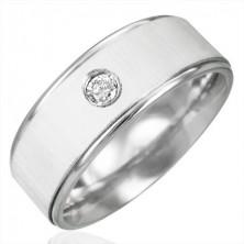 Minőségi acél gyűrű és cirkónia - fehér szatén fény