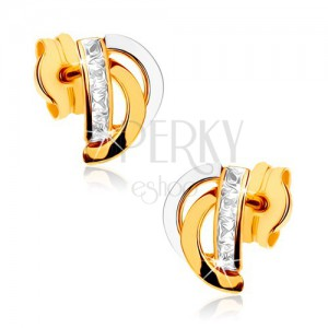 375 arany fülbevaló - kétszínű ívek, függőleges cirkóniás vonal