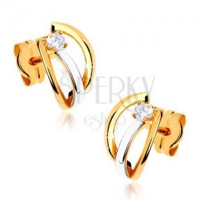 Kétszínű 375 arany fülbevaló - három fényes ív, átlátszó kő