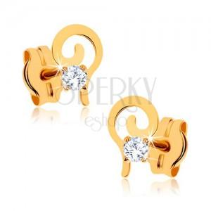 375 arany fülbevaló - lapos spirál kerek átlátszó kő díszítéssel