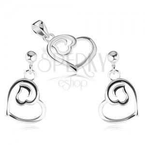 925 ezüst szett - beszúrós fülbevaló és medál, két szívkörvonal
