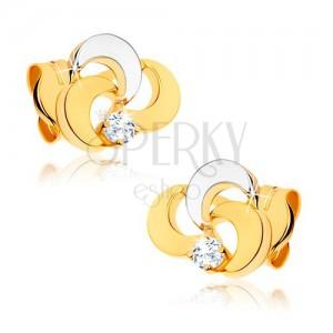 Ródiumozott fülbevaló 9K aranyból - három levél átlátszó cirkóniával, kétszínű kivitelezés