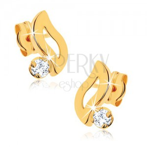 Fülbevaló 9K sárga aranyból - hullám kontúr, átlátszó kerek kő