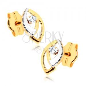 Bedugós fülbevaló 9K aranyból - kétszínű magszem körvonal, átlátszó cirkóniák