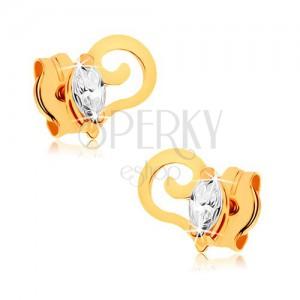 375 arany fülbebevaló - spirálosan hajlított vonal, átlátszó cirkóniás magszem