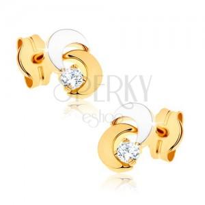 Fülbevaló 9K aranyból - két félhold, átlátszó csillogó kő, ródiumozott