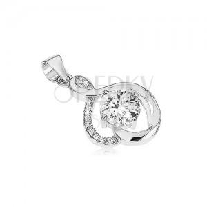 925 ezüst medál, ívelt vonalak, átlátszó cirkóniák, kerek csillogó kő