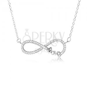 """Állítható nyakék - 925 ezüst, medál végtelen szimbólummal, kövek, """"Love"""" feriat"""