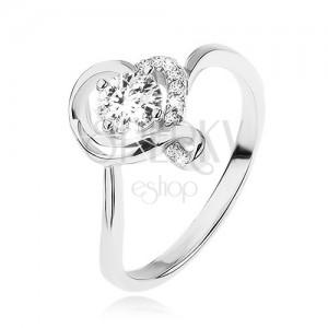 Eljegyzési gyűrű 925 ezüstből, kerek átlátszó cirkónia hulllámos szív körvonalban