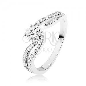 925 ezüst gyűrű, élénk cirkónia két köves vonal között