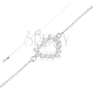 925 ezüst karkötő, finom lánc, szív kontúr - átlátszó cirkóniák