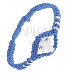 Kék fonott karkötő, fényes acél kereszt és karikák, állítható