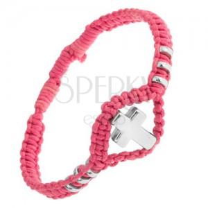 Karkötő rózsaszín zsinórokból, dísz karikák és kereszt 304L acélból