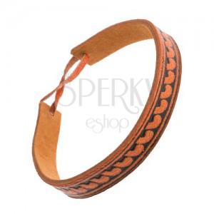 Narancsbarna bőr karkötő, szűk sáv félholdakkal