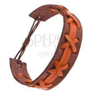 Barna bőr karkötő, narancs fonat és sávok, állítható hossz