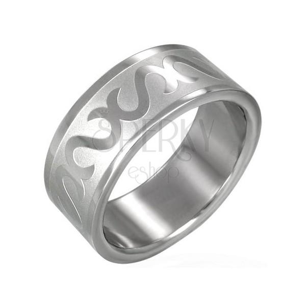 Gyűrű minőségi acélból - fektetett S betűk