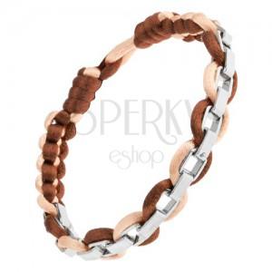 Fényes fonott karkötő két színben, szögletes acél lánc