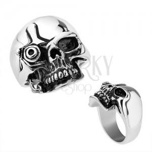 Acél gyűrű, ezüst szín, fényes patináns koponya Terminátor stílusban