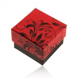 Piros-fekete ajándékdoboz gyűrűre, virágminta