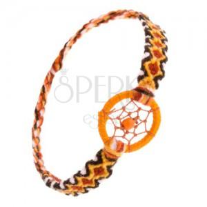 Narancs karkötő gyapjúból, rombuszminta, karika golyóval